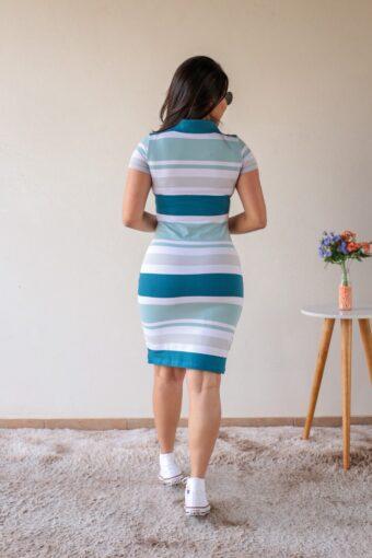 Vestido Polo Azul com Off em Áquila Tauheny Store | Moda Evangélica