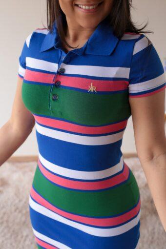 Vestido Polo Azul Vermelho em Áquila Tauheny Store | Moda Evangélica