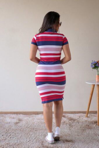 Vestido Polo Vermelho com Azul em Áquila Tauheny Store | Moda Evangélica