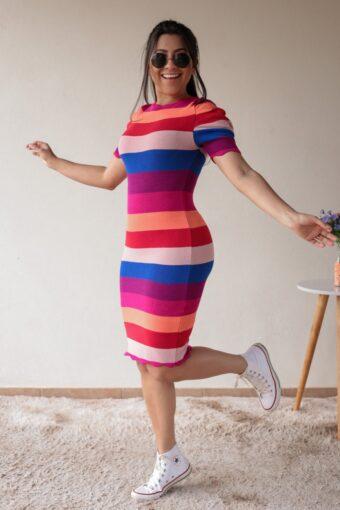 Vestido Tricot Colorido em Áquila Tauheny Store | Moda Evangélica