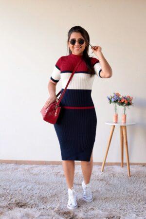 Vestido Tricot Vermelho com Azul