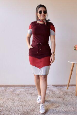 Vestido de Malha Bordô