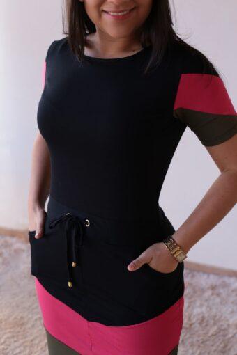 Vestido de Malha Preto com Rosa em Áquila Tauheny Store | Moda Evangélica