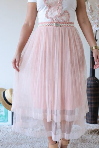 Saia Midi Plissada Tule em Áquila Tauheny Store | Moda Evangélica