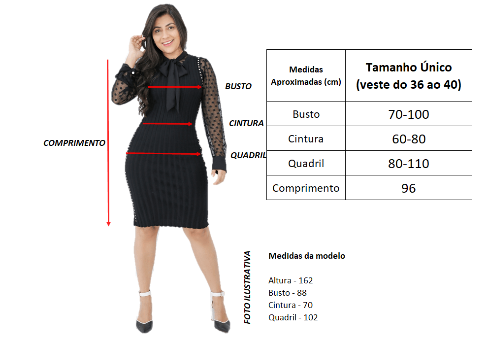 Tabela de Medidas | Vestido Tricot Azul Tiffany | Áquila Tauheny Store