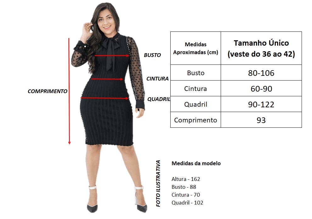 Tabela de Medidas | Vestido Tricot Diagonal | Áquila Tauheny Store