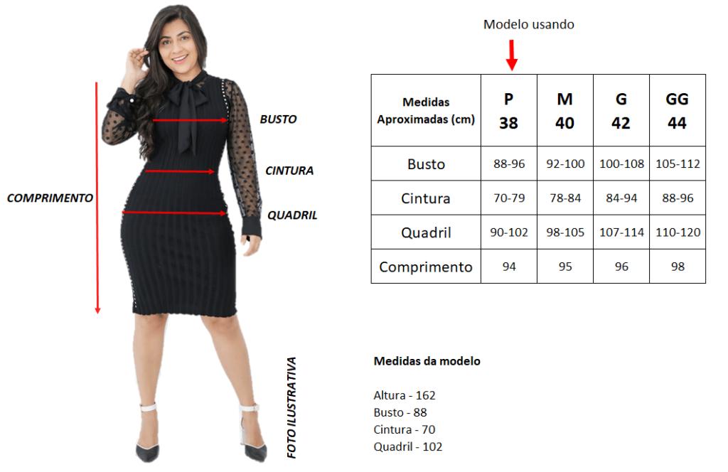 Tabela de Medidas | Vestido de Malha Listrado | Áquila Tauheny Store