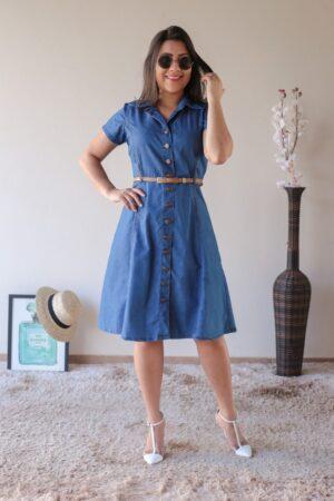 Vestido Jeans Evasê Claro