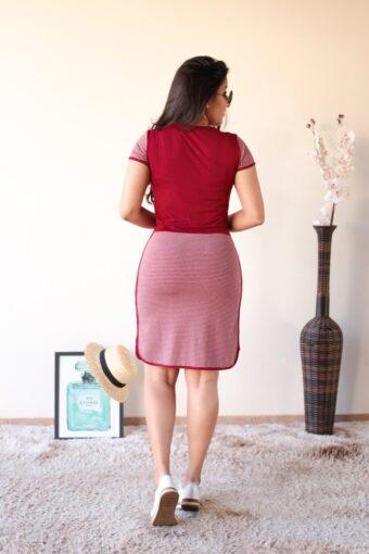 Vestido de Malha Bordô com Vermelho em Áquila Tauheny Store | Moda Evangélica