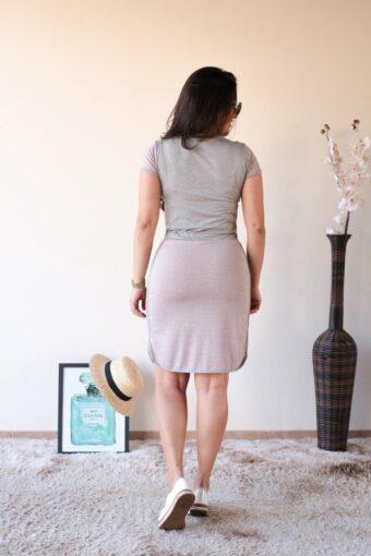Vestido Malha Cinza com Rosa em Áquila Tauheny Store | Moda Evangélica