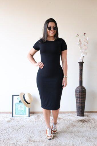 Vestido Midi Malha Canelada em Áquila Tauheny Store | Moda Evangélica