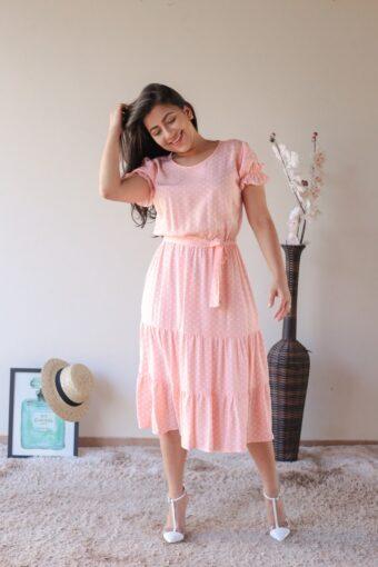 Vestido Midi Poá Rosa em Áquila Tauheny Store | Moda Evangélica