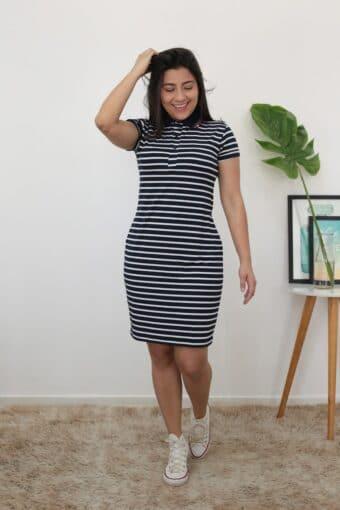 Vestido Polo Azul Listrado em Áquila Tauheny Store | Moda Evangélica