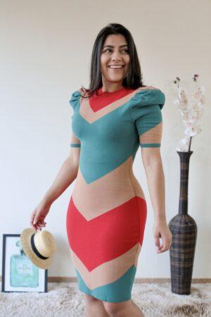 Vestido Tricot Vermelho Diagonal