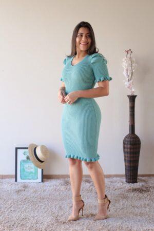 Vestido Tricot Azul Tiffany