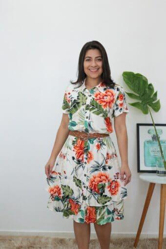 Vestido Viscose Floral em Áquila Tauheny Store | Moda Evangélica