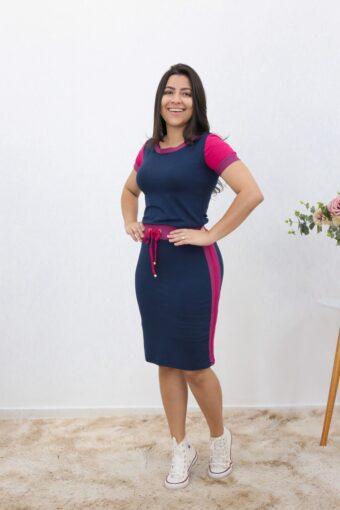 Conjunto de Malha Azul com Rosa em Áquila Tauheny Store | Moda Evangélica