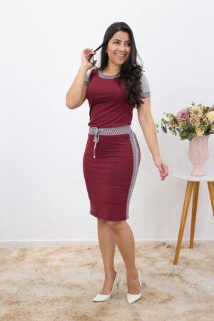 Conjunto de Malha Bordo com Cinza em Áquila Tauheny Store | Moda Evangélica