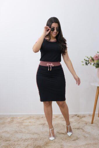Conjunto de Malha Preto com Rosa em Áquila Tauheny Store | Moda Evangélica