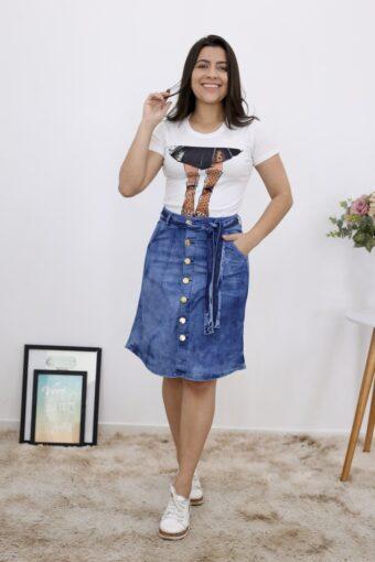 Saia Jeans Evasê em Moda Evangélica