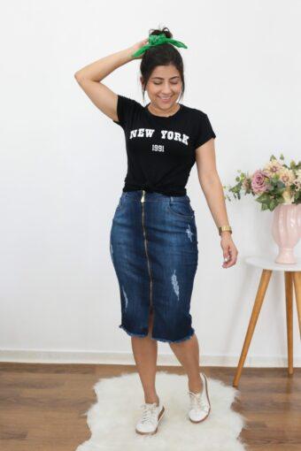 Saia Jeans Secretária em Moda Evangélica