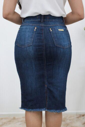 Saia Jeans Secretária Zíper em Moda Evangélica
