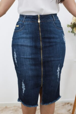 Saia Jeans Secretária Zíper