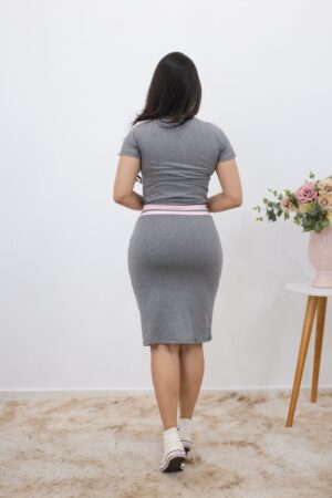 Vestido de Malha Comfy Cinza