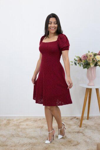 Vestido Tricot Evase Marsala em Áquila Tauheny Store | Moda Evangélica