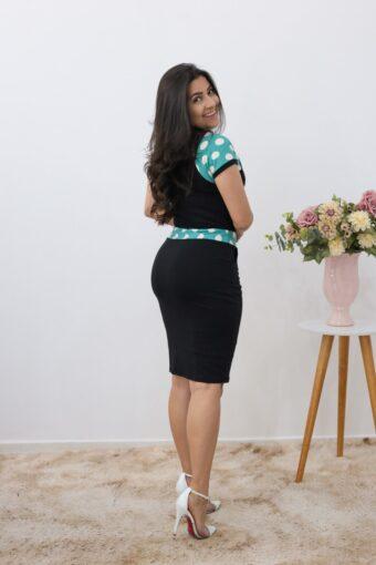 Vestido de Malha Preto com Poá em Áquila Tauheny Store | Moda Evangélica