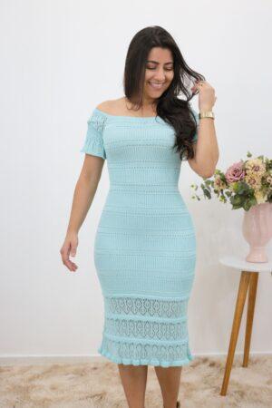 Vestido de Tricot Midi Azul Bebê