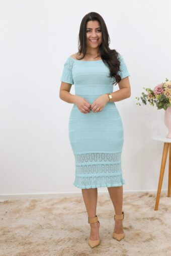 Vestido Tricot Midi Azul Bebê em Áquila Tauheny Store | Moda Evangélica