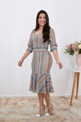 Vestido Midi Peplum em Moda Evangélica
