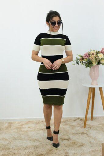 Vestido Tricot Listrado em Áquila Tauheny Store | Moda Evangélica