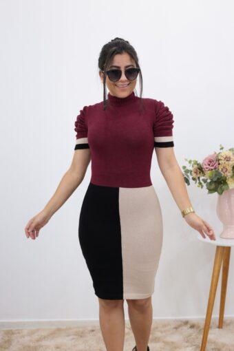 Vestido Tricot Tricolor em Áquila Tauheny Store | Moda Evangélica