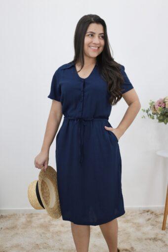 Vestido Viscose Azul em Áquila Tauheny Store | Moda Evangélica