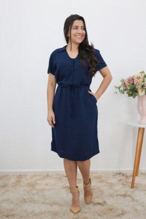 Vestido de Viscose Azul