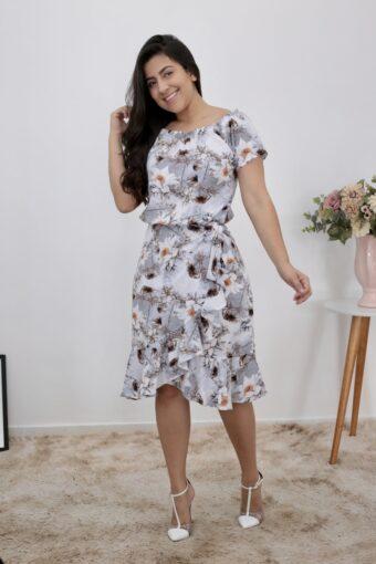 Vestido de Viscose Floral FP em Moda Evangélica