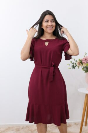 Vestido Viscose Marsala