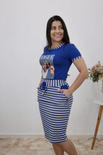 Conjunto de Malha Azul Listrado | Moda Evangélica