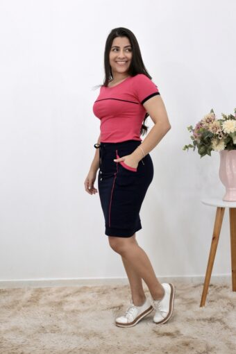 Conjunto de Malha Azul com Pink | Moda Evangélica