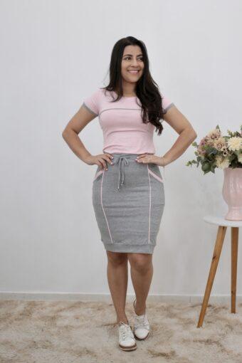 Conjunto de Malha Cinza com Rosa Bebê | Moda Evangélica