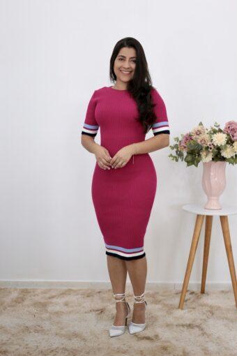 Vestido Tricot Rosa | Moda Evangélica