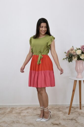 Vestido Viscose Color Block | Aquila Tauheny Store | Moda Evangelica