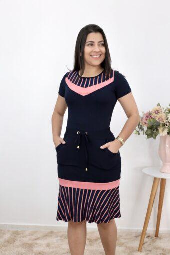 Vestido Malha Peplum Azul | Moda Evangélica