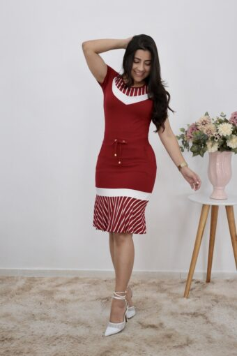 Vestido Malha Peplum Vermelho | Moda Evangélica