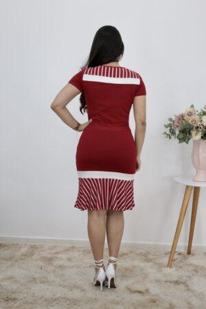 Vestido de Malha Peplum Vermelho