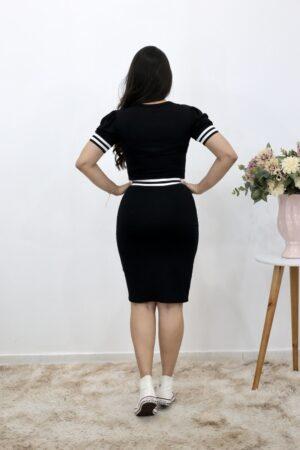 Vestido de Malha Preto com Faixa