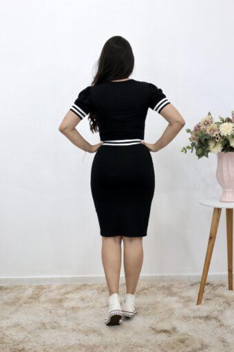 Vestido de Malha Preto com Faixa | Moda Evangélica