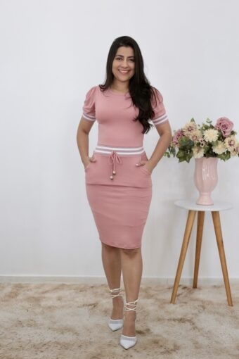 Vestido de Malha Rosê com Faixa | Moda Evangélica